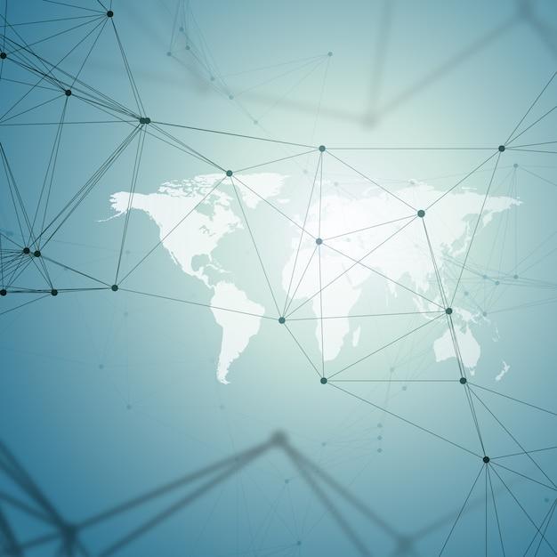 Modello di chimica, mappa del mondo bianco, linee e punti di collegamento, struttura della molecola su blu. Vettore Premium