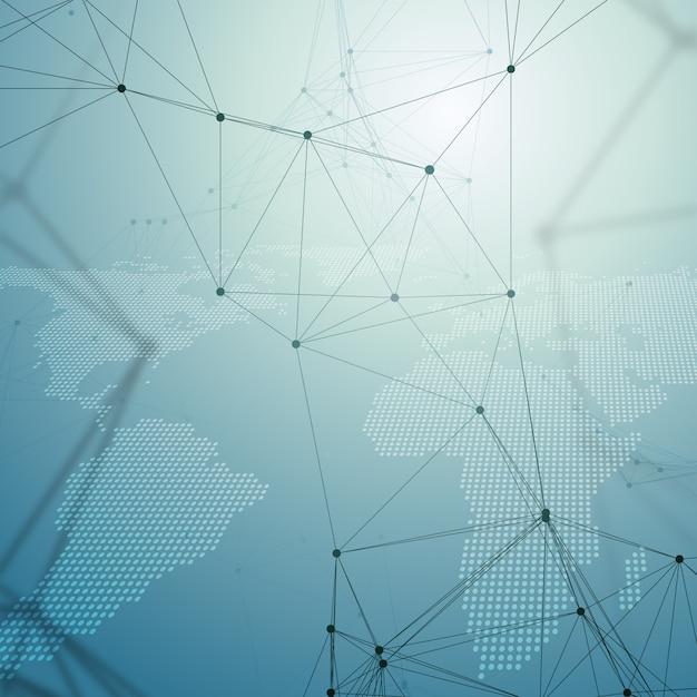 Modello di chimica, mappa del mondo tratteggiata, linee e punti di collegamento, struttura delle molecole Vettore Premium