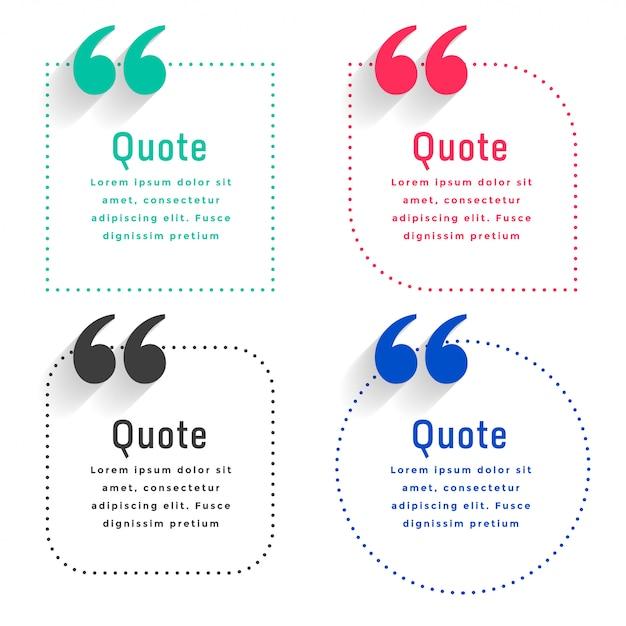 Modello di citazioni impostato in stile linea punti Vettore gratuito