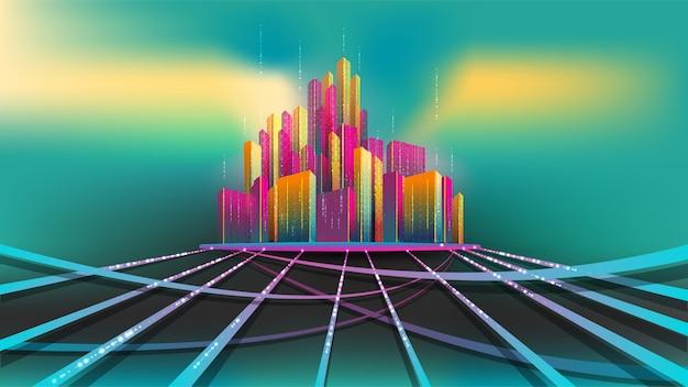 Modello di città intelligente, concetto astratto. gruppo di costruzione colorata sulla base che si collega con la strada di luccica Vettore Premium