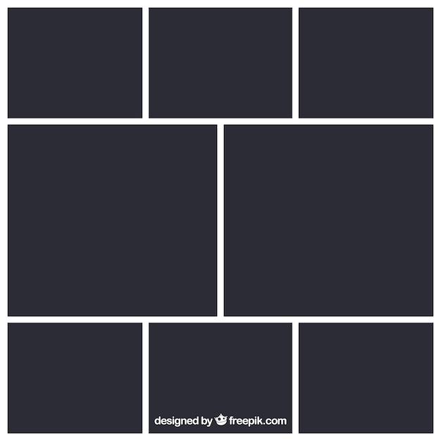 Modello di collage di foto cornice nera Vettore gratuito