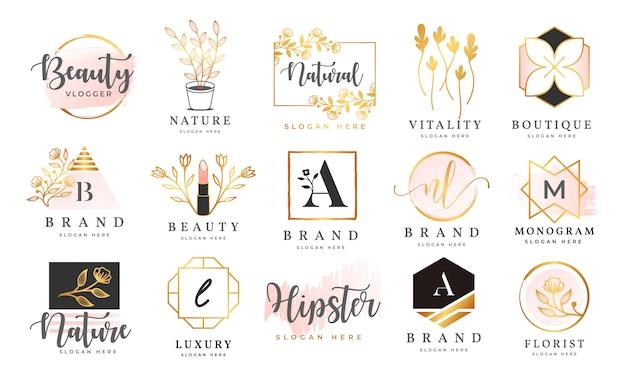 Modello di collezioni di logo femminile Vettore Premium