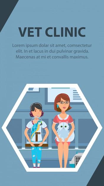 Modello di colore di vettore del manifesto della coda della clinica del veterinario Vettore Premium