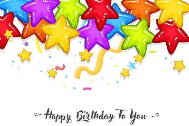 Modello di compleanno di stelle colorate Vettore gratuito