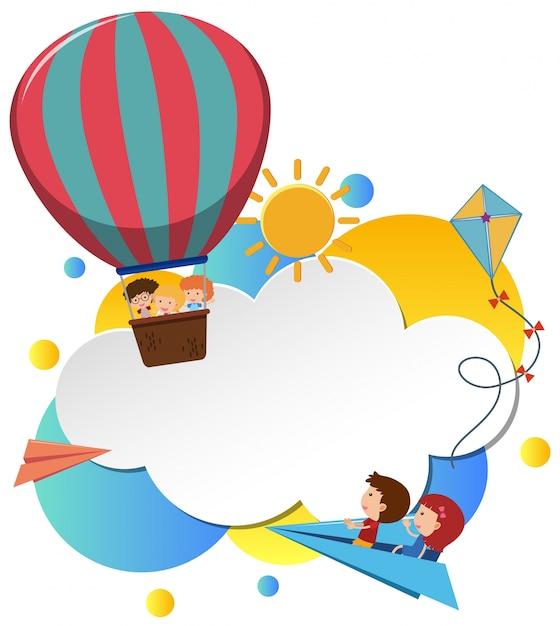 modello di confine con i bambini in mongolfiera