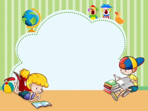 Modello di confine con libri di lettura per bambini Vettore gratuito