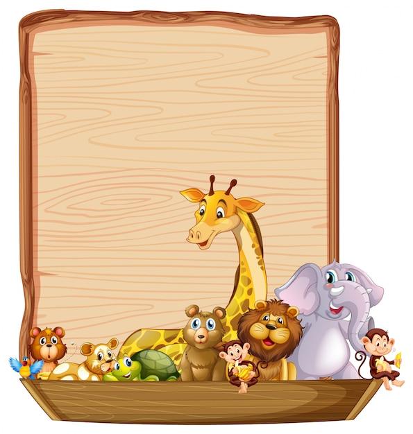 Modello di confine con simpatici animali sulla barca di legno Vettore gratuito