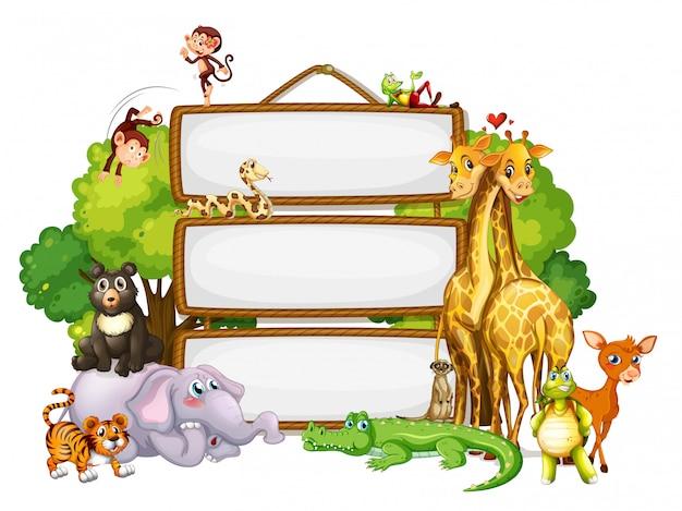 Modello di confine con simpatici animali Vettore gratuito