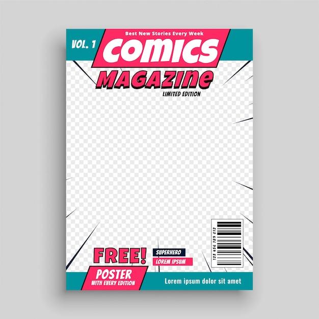 Modello di copertina della rivista di fumetti Vettore gratuito