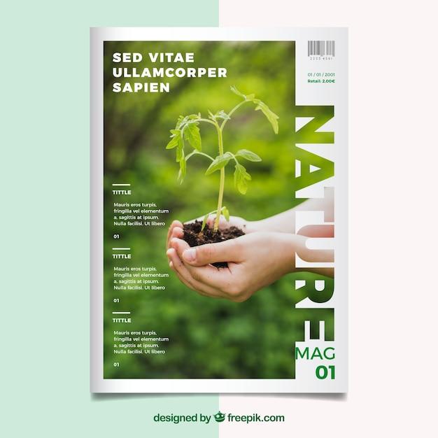 Modello di copertina della rivista natura con foto Vettore gratuito