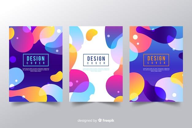 Modello di copertina di design con effetto liquido colorato Vettore gratuito