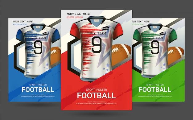 Modello di copertina di volantino e poster con football jersey design. Vettore Premium