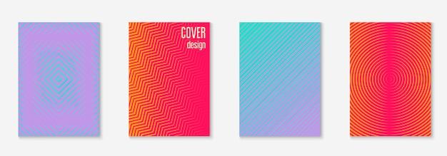 Modello di copertina minimalista impostato con sfumature Vettore Premium