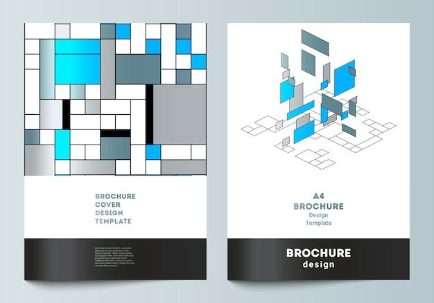 Modello di copertina moderna. mosaico colorato poligonale astratto, design retrò bauhaus. Vettore Premium