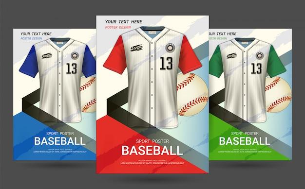 Modello di copertina volantino e poster con design di jersey da baseball. Vettore Premium