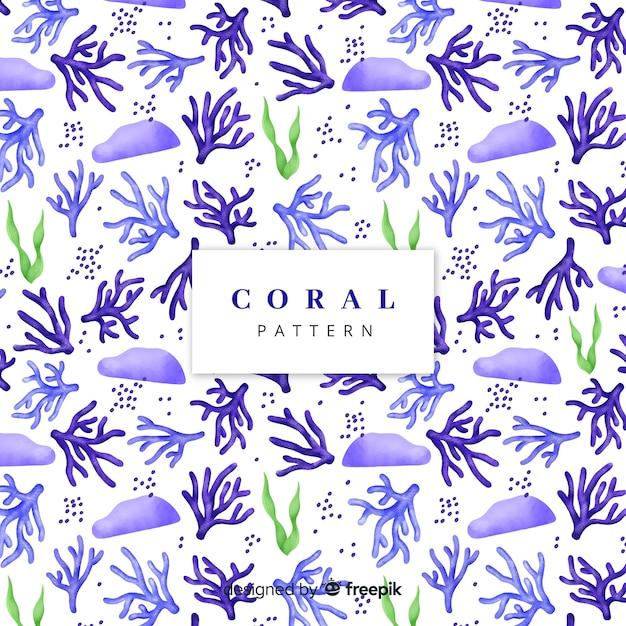 Modello di corallo acquerello Vettore gratuito