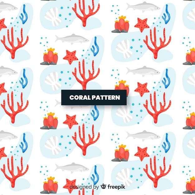 Modello di corallo piatto Vettore gratuito