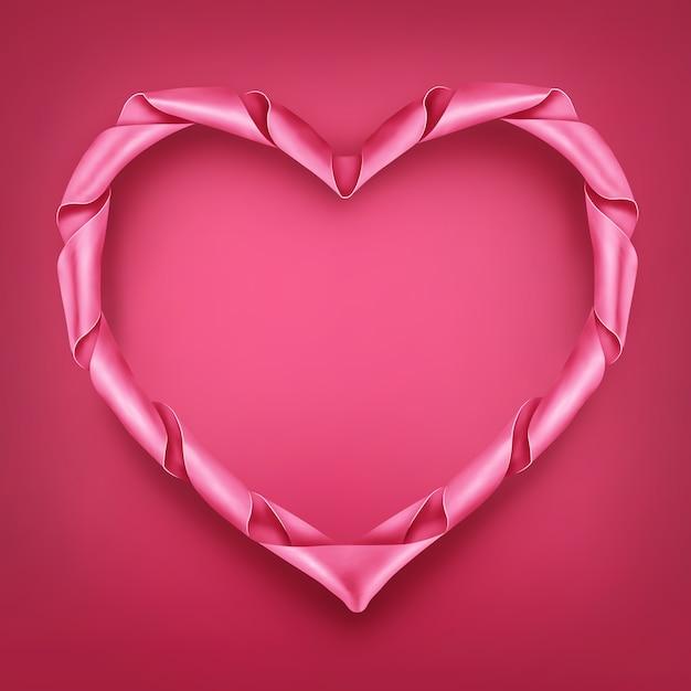 Modello di cornice a forma di cuore rosa nastro. Vettore Premium