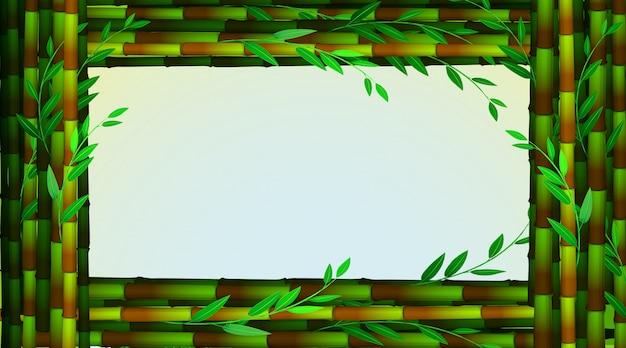 Modello di cornice con alberi di bambù verdi Vettore gratuito