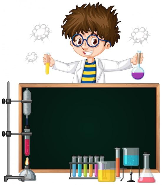 Modello di cornice con bambino nel laboratorio di scienze Vettore gratuito