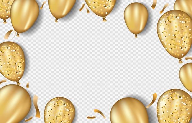 Modello di cornice di palloncini glitter oro Vettore Premium