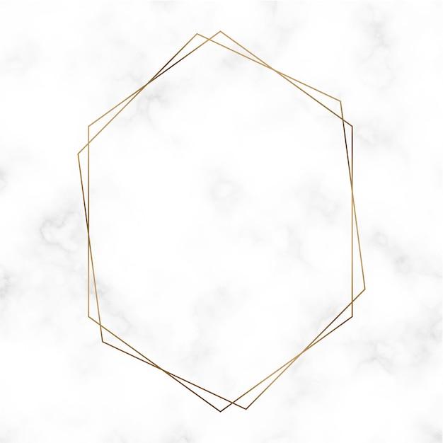 Modello di cornice esagonale dorato Vettore gratuito