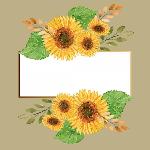 Modello di cornice floreale oro girasoli estate dell'acquerello Vettore Premium