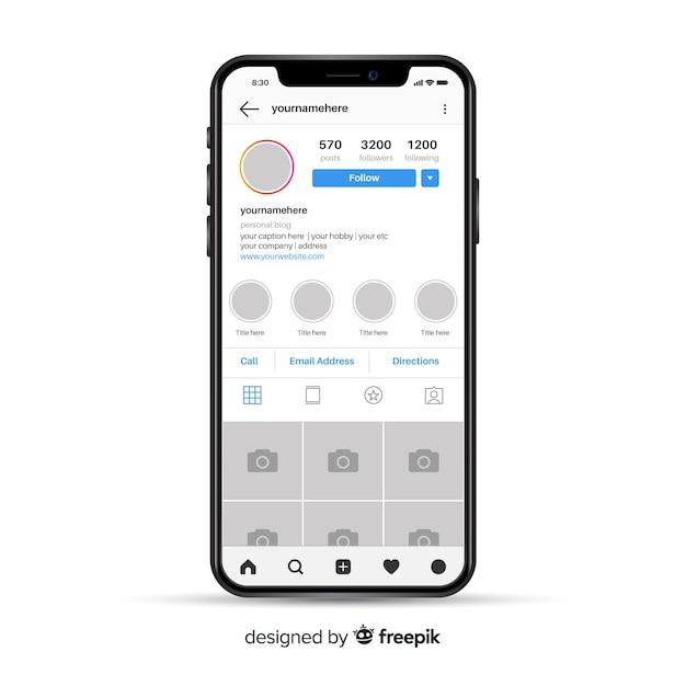 Modello di cornice foto instagram su iphone Vettore gratuito