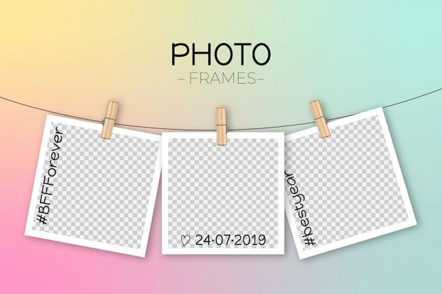 Modello di cornice polaroid Vettore gratuito