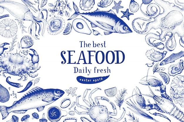 Modello di cornice vettoriale di frutti di mare. illustrazione disegnata a mano Vettore Premium