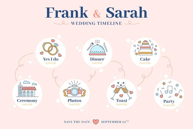 Modello di cronologia di nozze in stile lineare Vettore gratuito