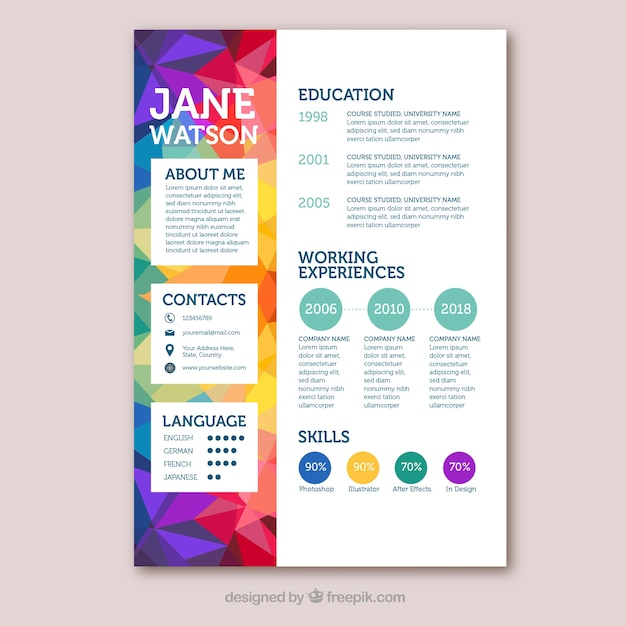Modello di curriculum colorato con stile geometrico Vettore gratuito