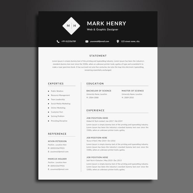 Modello di curriculum cv in bianco e nero Vettore Premium