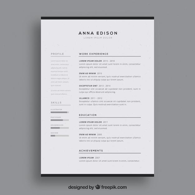 Modello di curriculum in bianco e nero Vettore gratuito