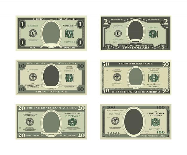 Modello di denaro falso Vettore Premium