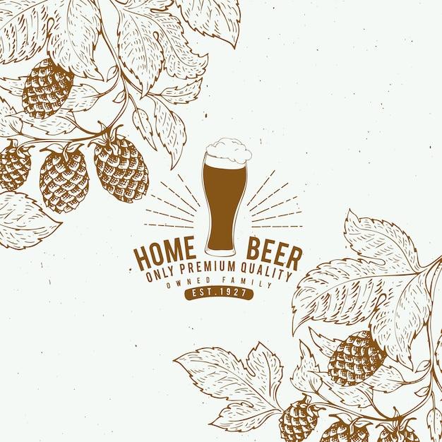 Modello di design beer hop. sfondo di birra d'epoca. illustrazione di luppolo disegnato a mano di vettore. banner in stile retrò. Vettore Premium
