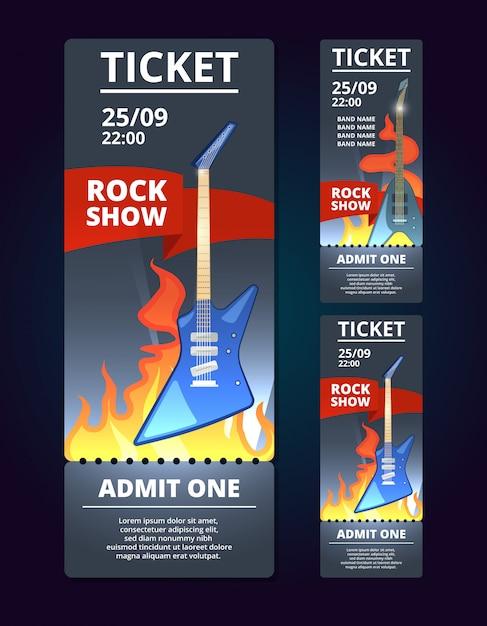 Modello di design del biglietto dell'evento musicale. musica di poster con illustrazione della chitarra rock. banner del biglietto del concerto di musica al vettore di spettacolo festival Vettore Premium
