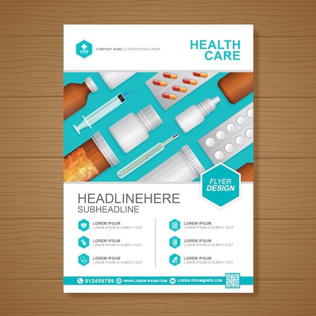 Modello di design di assistenza sanitaria e copertura medica a4 Vettore Premium