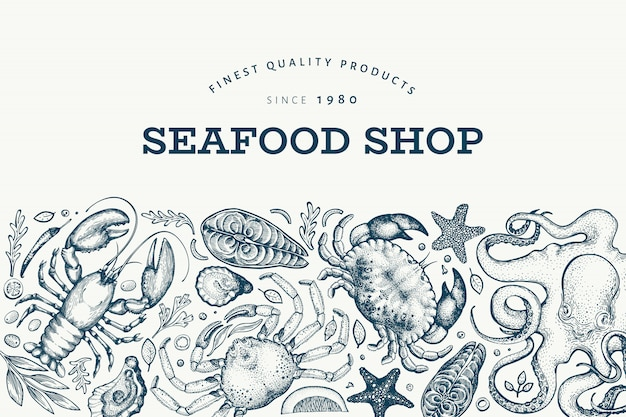 Modello di design di frutti di mare e pesce Vettore Premium