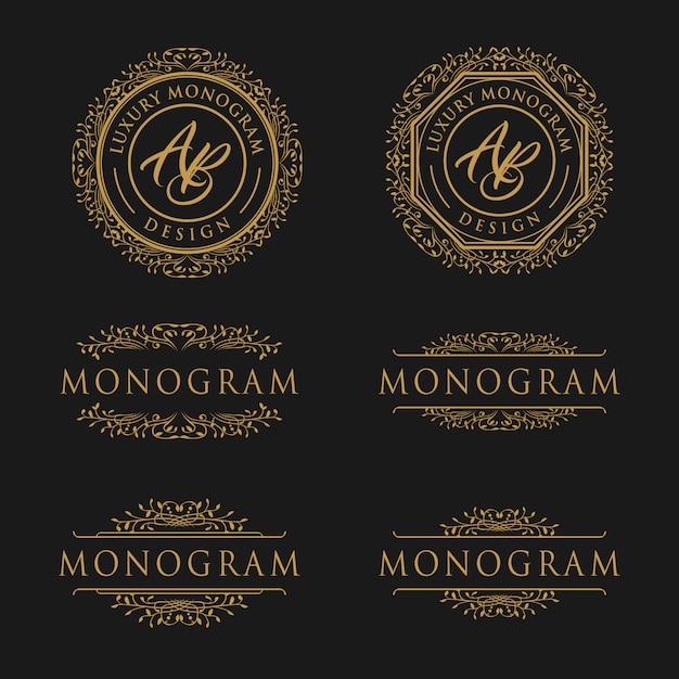 Modello di design di lusso per il matrimonio e la decorazione Vettore Premium