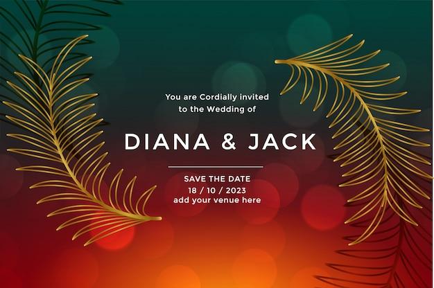 Modello di design di lusso premium carta di nozze Vettore gratuito