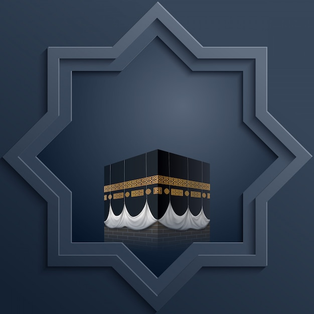 Modello di design islamico ottagonale con l'icona di kaaba Vettore Premium