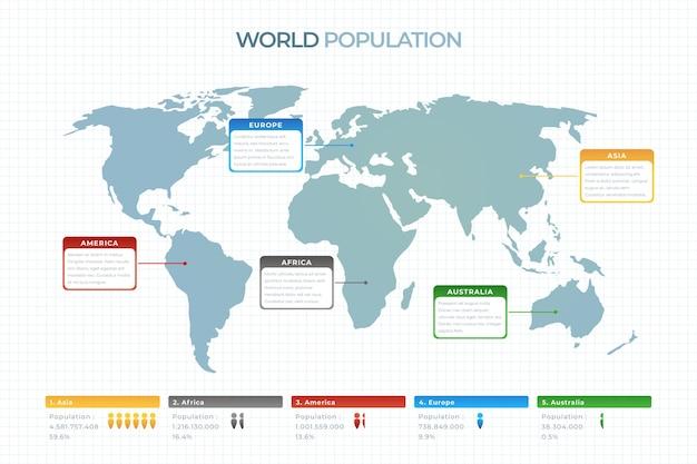 Modello di design piatto infografica mappa del mondo Vettore gratuito