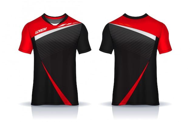 Modello di design sportivo t-shirt, maglia da calcio per club di calcio. vista frontale e posteriore uniforme. Vettore Premium