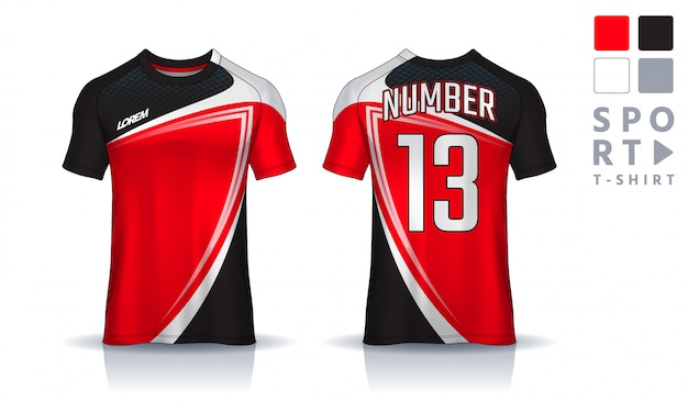 Modello di design sportivo t-shirt, mockup di maglia da calcio per club di calcio. vista frontale e posteriore uniforme. Vettore Premium