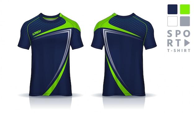 Modello di design sportivo t-shirt, vista frontale e posteriore uniforme. Vettore Premium