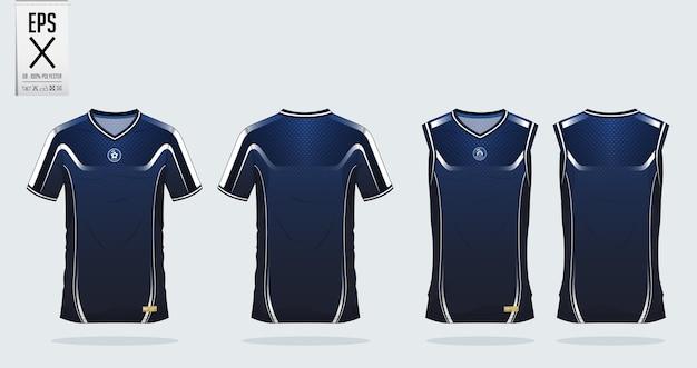 Modello di design sportivo t-shirt. Vettore Premium