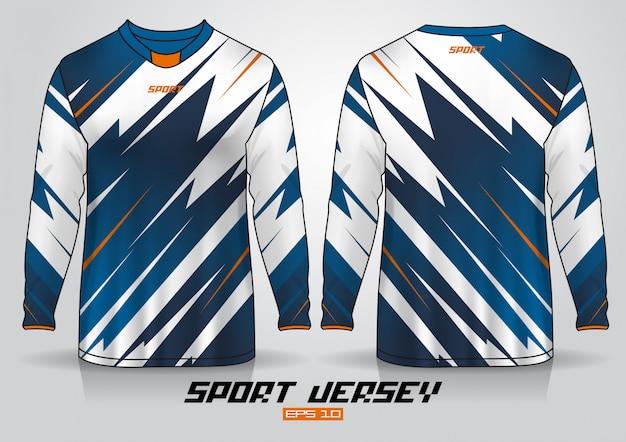 Modello di design t-shirt a maniche lunghe, vista frontale e posteriore uniforme. vettore Vettore Premium
