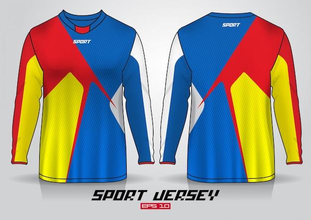 Modello di design t-shirt a maniche lunghe, vista frontale e posteriore uniforme Vettore Premium