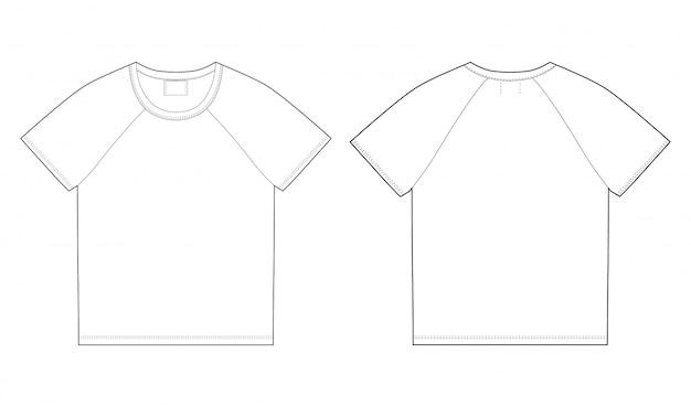 Modello di design t-shirt. davanti e dietro Vettore Premium